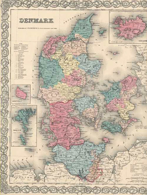 JH Colton First Edition antique map of Denmark c1855.