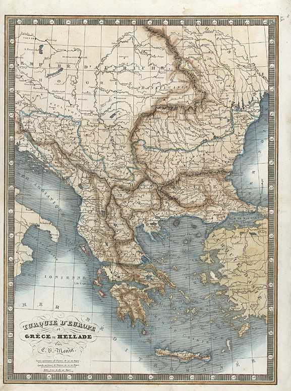 Turquie et Grece. Turkey & Greece Antique Map. Monin c1838