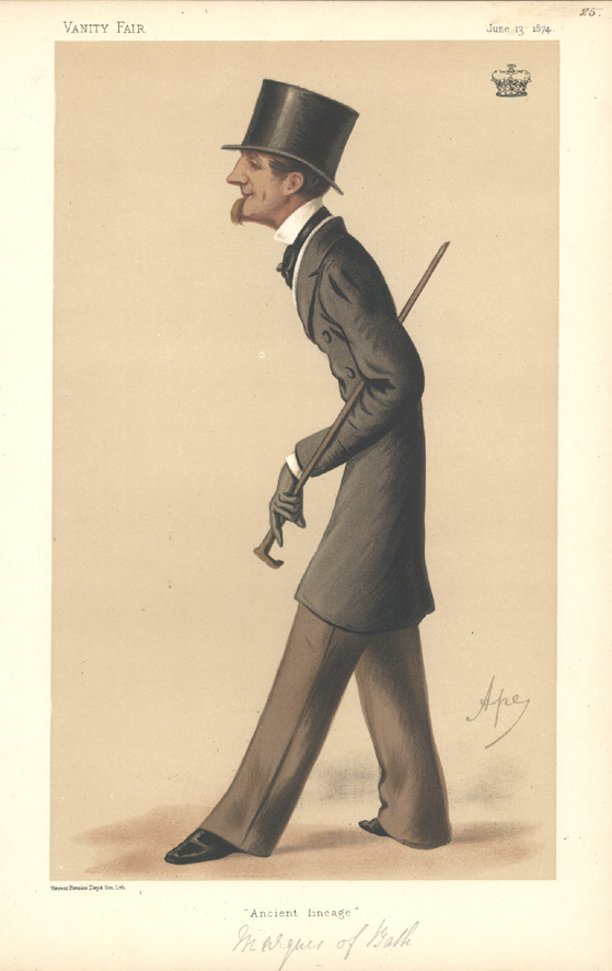 """Ancient lineage"" Vanity Fair caricature. Marquis of Bath lithograph c1874."