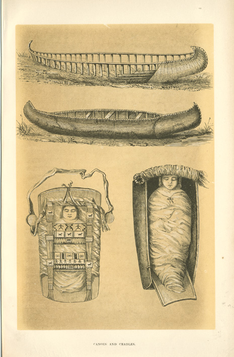 Early American Indian Canoes and Cradles. Antique print c1860.