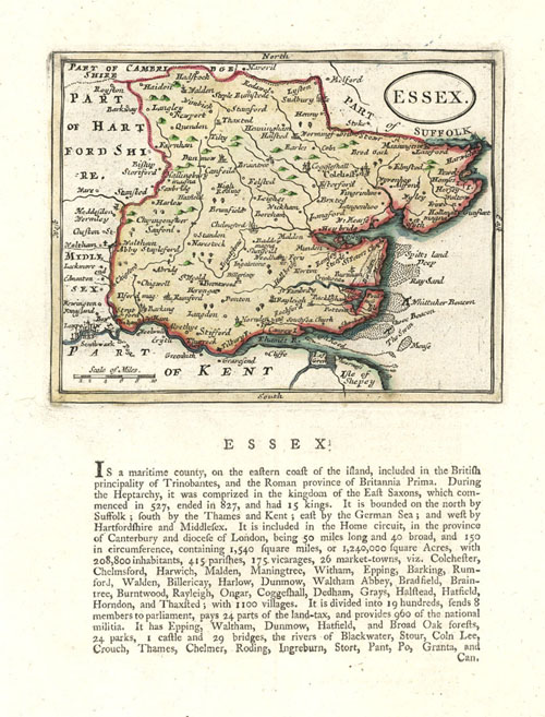 Antique county map of Essex by John Seller after John Speed.