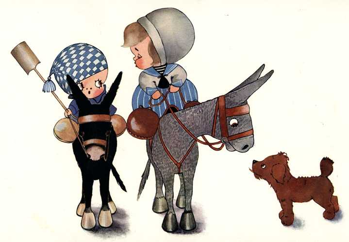 Peek-a-Boo Donkey Ride with Puppy. Chloe Preston lithograph c1912