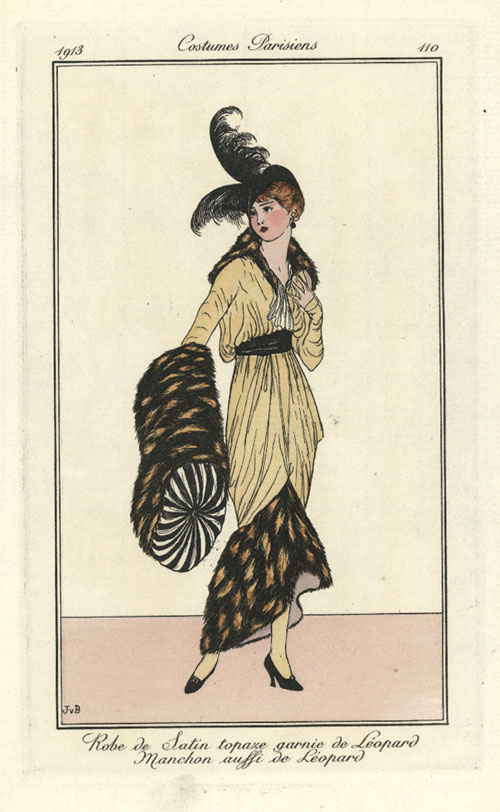 Costumes Parisiens. Leopard-trimmed Satin Gown. French Fashion Plate c1913
