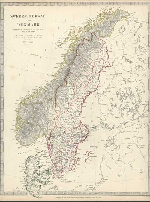 Sweden, Norway & Denmark. Antique Map. Walker, SDUK c1844