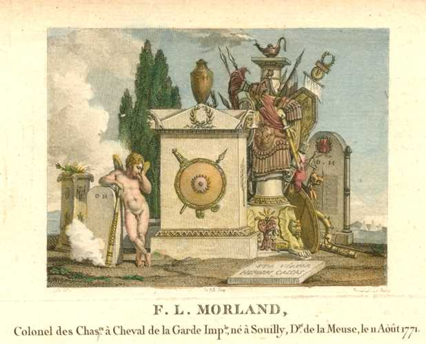 French. Classical military memorial to Cavalry Commander F.L. Morland. Classical engraving c1810