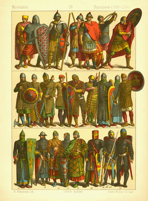 France, Middle Ages. Men dressed for Battle (700-1200). Hottenroth lithograph.