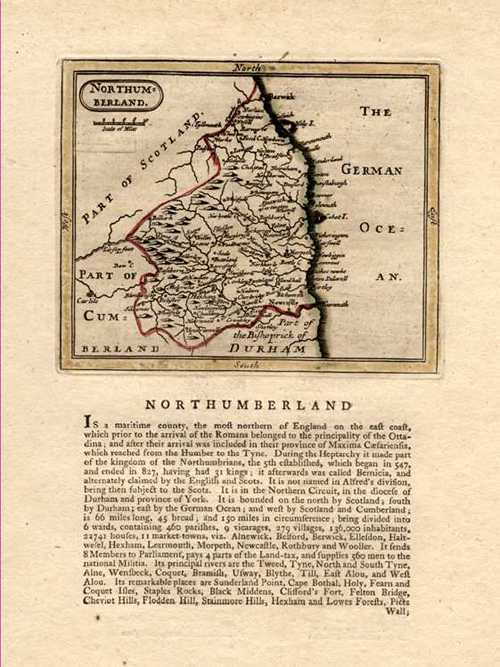 Northumberland Antique Map by J. Seller after John Speed. Grose c1787