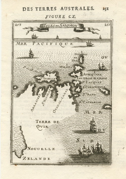 Isles de Salomon, Nouvelle Zelande. Solomon Islands, c1683.