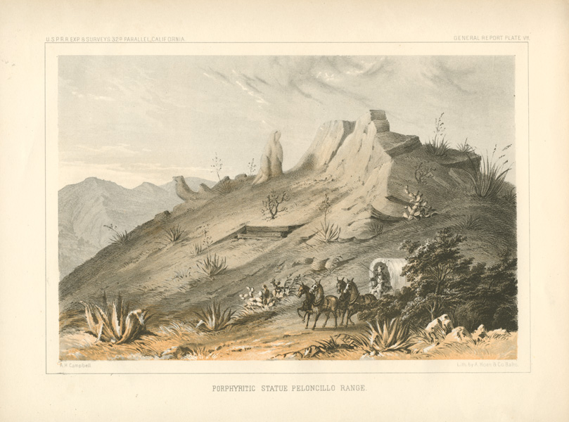 Arizona-New Mexico boundary. Porphyritic Statue, Peloncillo Ranges, c1855.