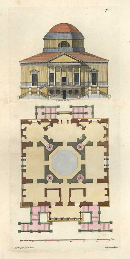 Burlington Architectus Front Elevation and floorplan. Pl.71 c1725