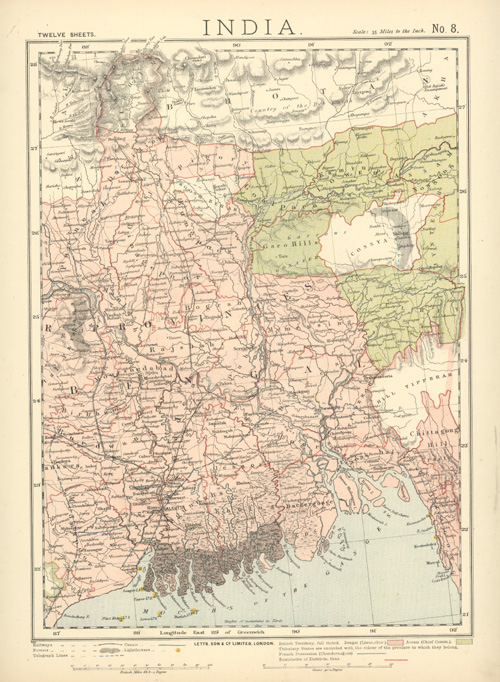 India, with Mouths of the Ganges. Letts antique map c1883.