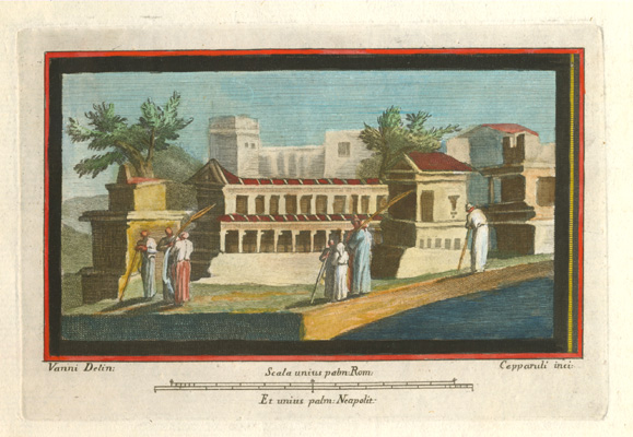Herculaneum architectural scene. Small mounted fresco engraving c1757