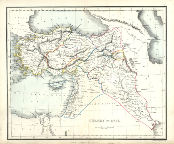 Turkey in Asia Antique Map by Alex Findlay c1853