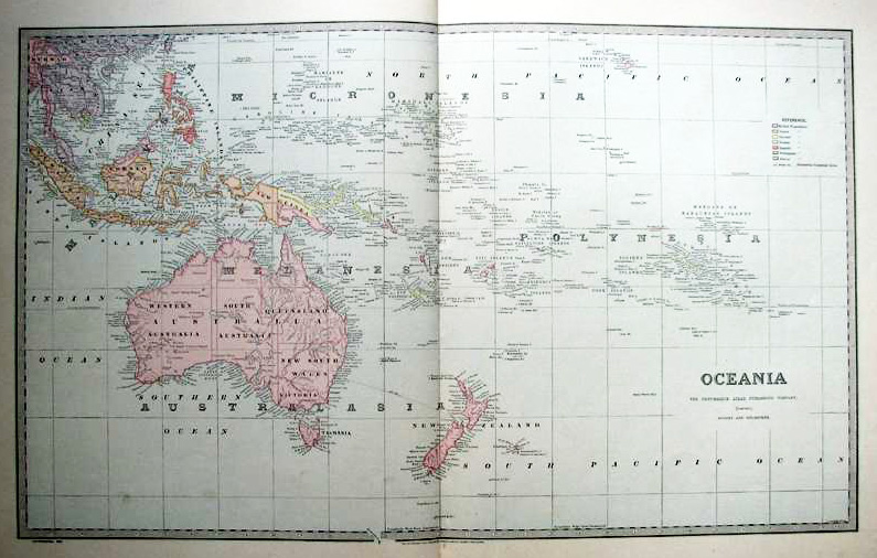 Antique map of Oceania - Australia, New Zealand and the Pacific c1888