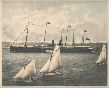 Sailing Regatta, Sydney Harbour c1888. Orizaba, Phillip-Stephan photo-lithograph