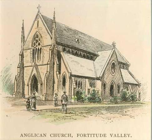 Brisbane. Anglican Church in Fortitude Valley. Antique Print c1886