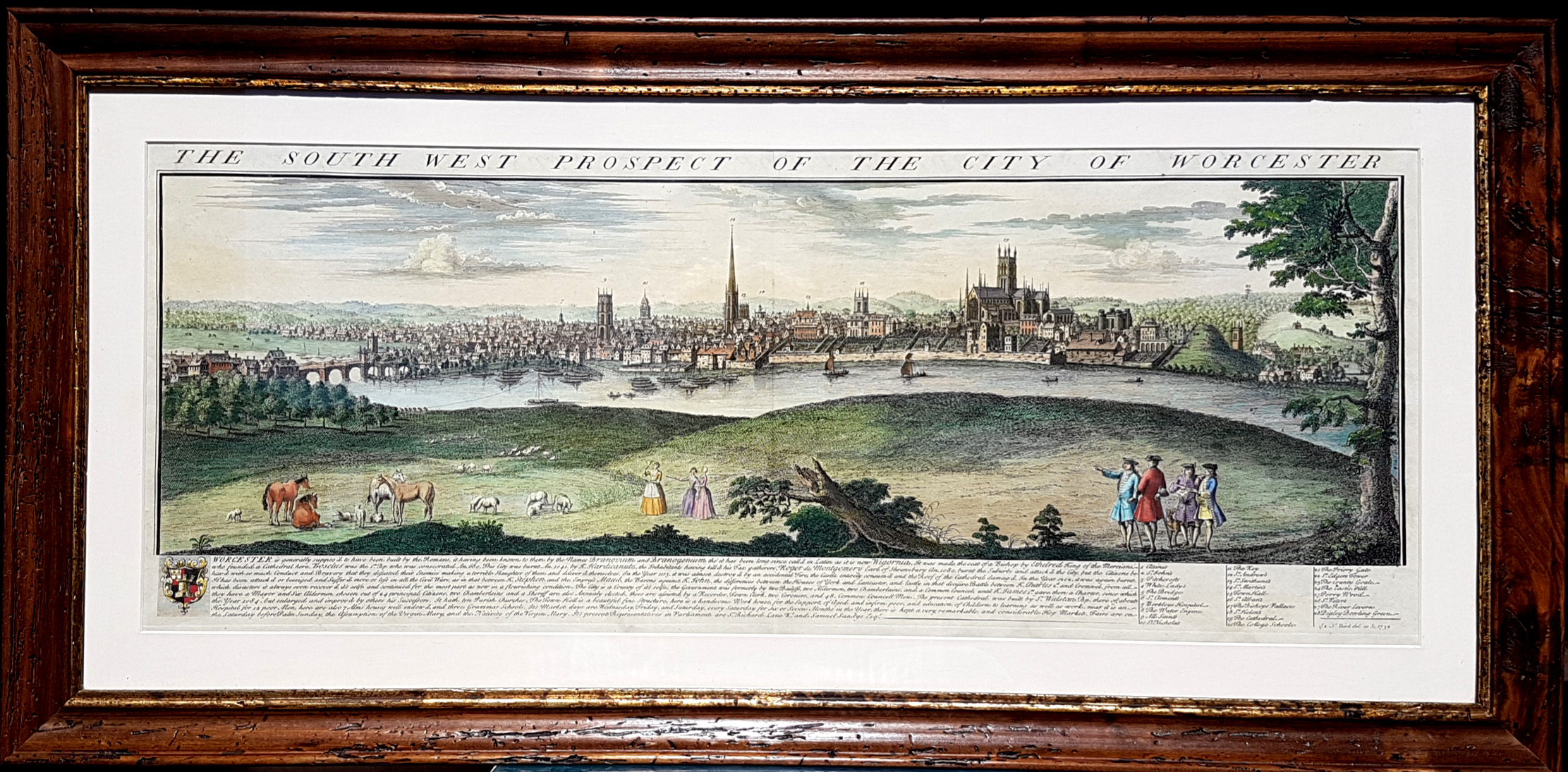 Framed. Samuel & Nathaniel Buck South-West Prospect, Worcester c1732.