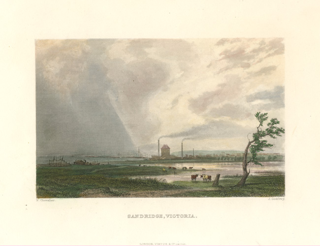 Port Melbourne. Sandridge, Victoria antique engraving after Nicholas Chevalier, c1874.