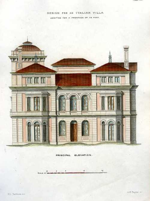 Italian Villa Front Elevation Architectural engraving, c1850