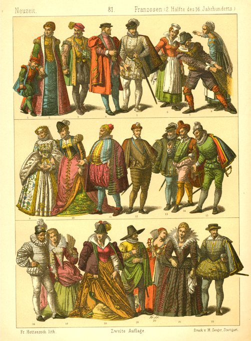Late 16th century French Fashion. Hottenroth lithograph c1886.