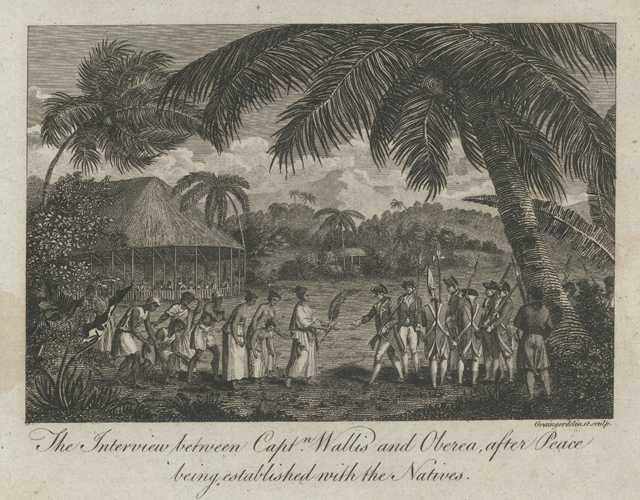 Tahiti. Interview between Capt. Wallis and Oberea. Cook c1780