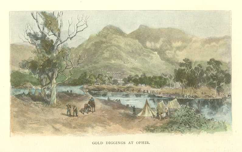 Australian Gold Diggings at Ophir in New South Wales Antique Print c1886