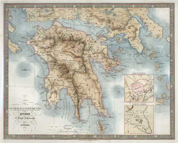 Greece. Peloponese attique et Pays Adjacents. Reichard c1860