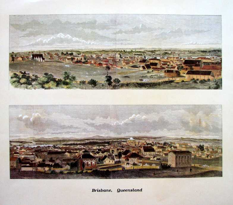 Brisbane in 1885. Well-defined split-view panorama c1885.