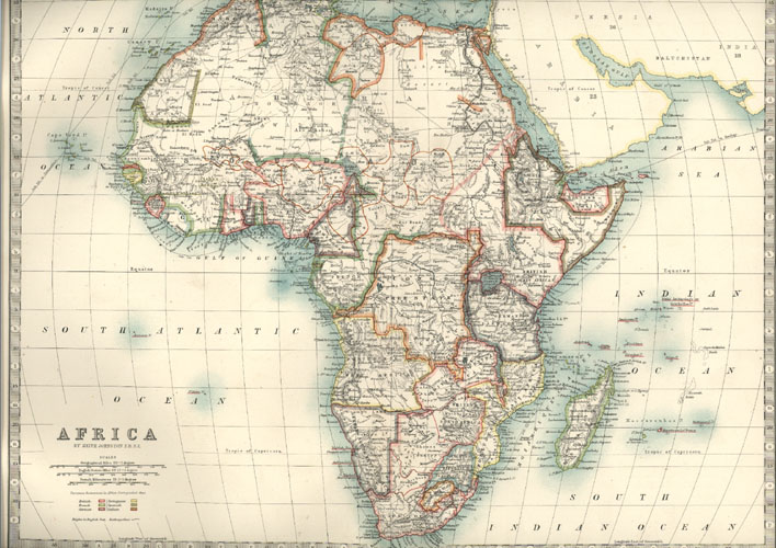 Antique map of Africa by Keith Johnston F.R.S.E. c1887.