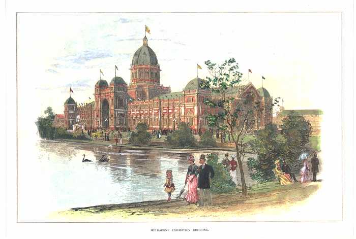Melbourne Exhibition Building print of a grand building in colonial Australia