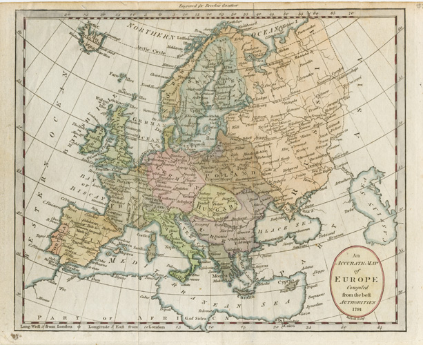 Accurate Map of Europe Compiled from the beft Authorities c1791. Russell