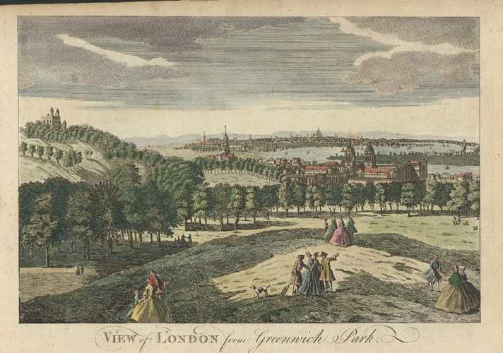 London from Greenwich Park. Complete English Traveller. Spencer c1773