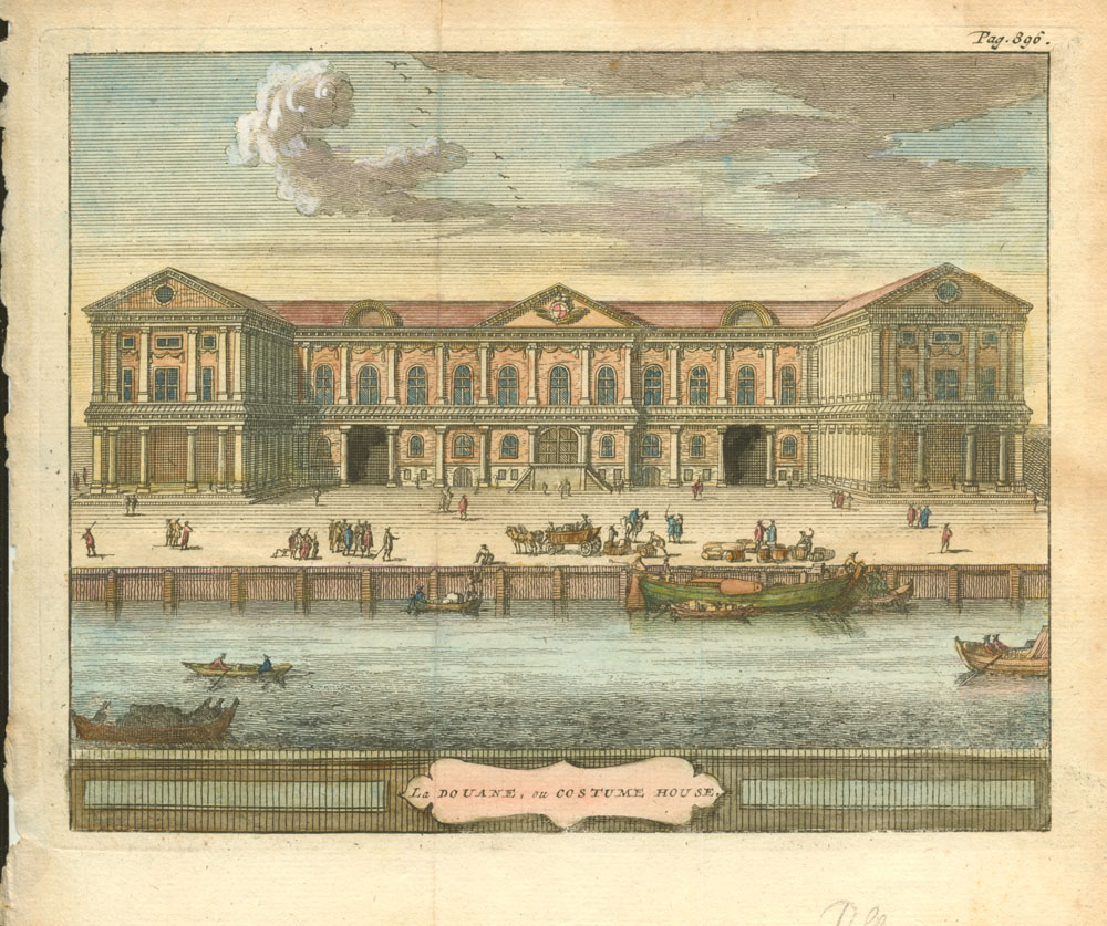 Beeverell antique print of Customs House in London c1727