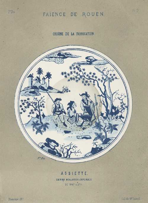 Antique Print of blue & white Porcelain, Faience Plate in Dutch-style Japanese design c1870