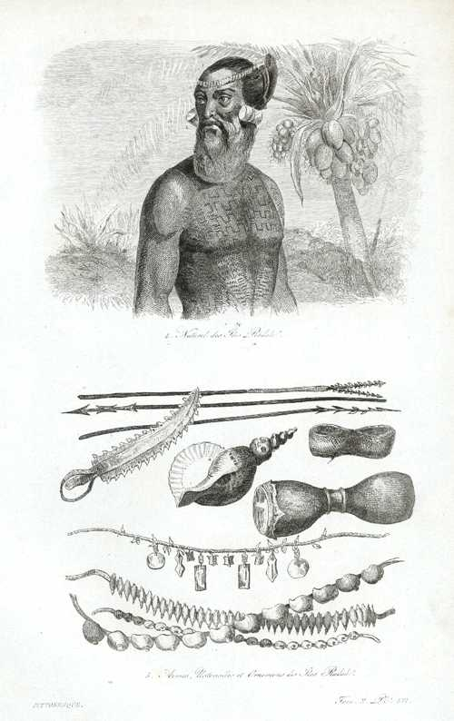 Marshall Islands. Naturel des Iles Radak. Arms, Utensils, Ornaments. D'Urville c1834
