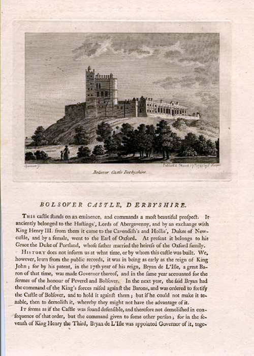 Grose engraving of Bolsover Castle, Derbyshire & historic text. c1785