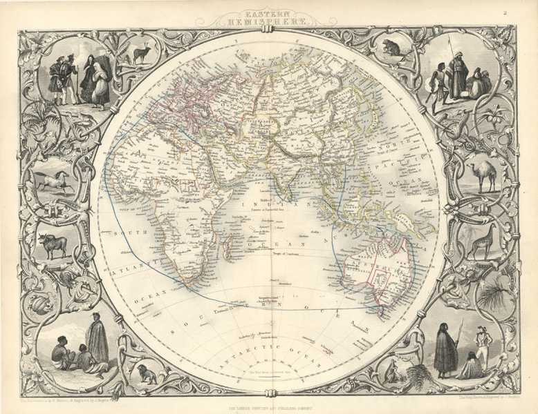 Eastern Hemisphere, Tallis antique map as published c1854