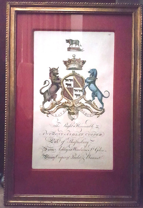 Framed Coat of Arms. Anthony Ashley Cooper. c1764.