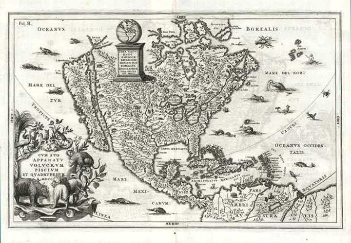 18thC North America map with California island. Scherer, c1710.