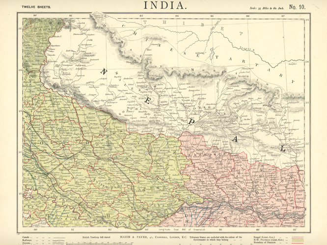 INDIA. Northern Provinces with Nepal to Chinese Tartary. Mason & Payne c1887