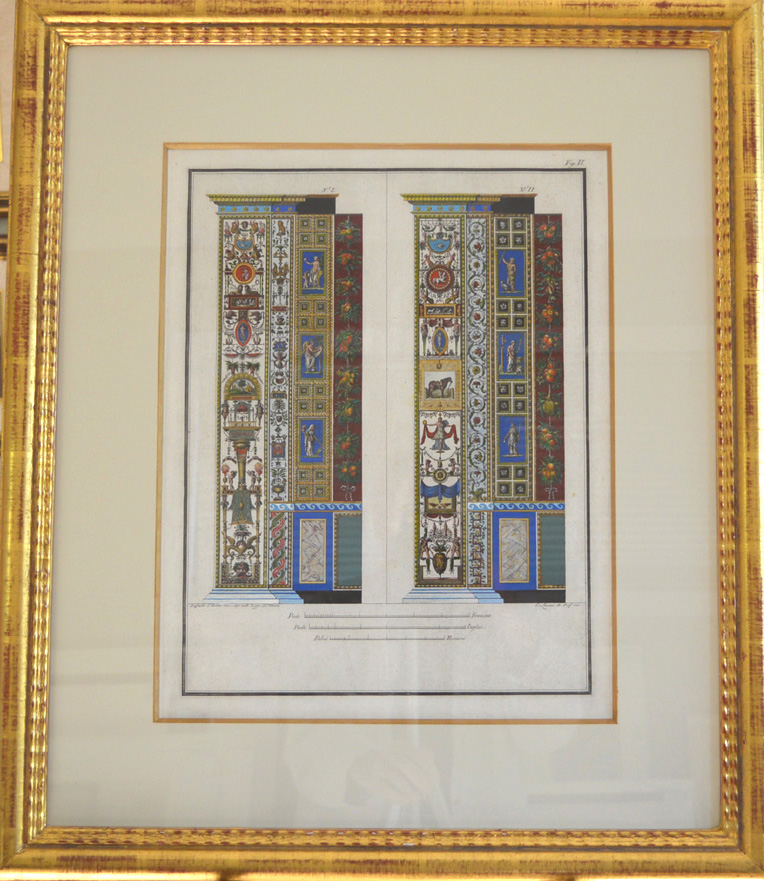 Framed Raphael Vatican pilaster frescos engraved in pairs c1800.