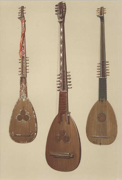 Hipkins' Musical Instruments: Historic, Rare and Unique: 3 Chitarroni, William Gibb lithograph c1888