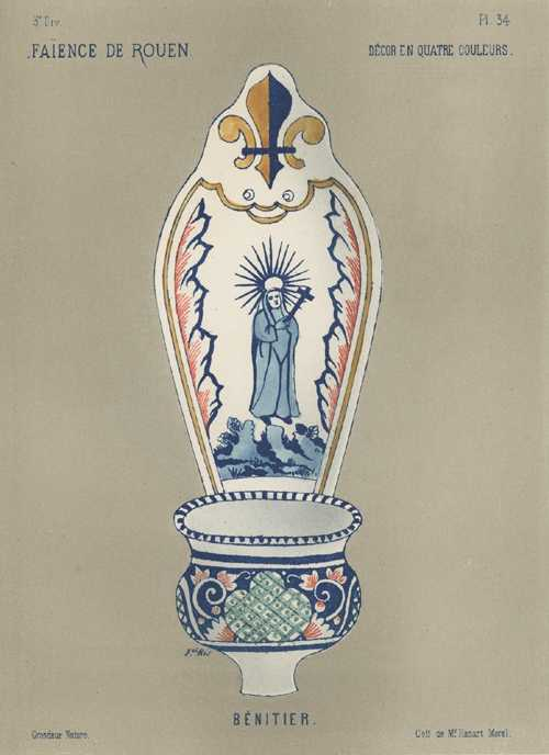 Faience Porcelain Benitier (Basin). Biblical theme antique print c1870