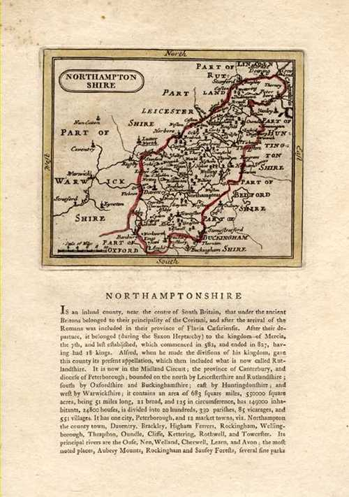 Northamptonshire Antique Map after John Speed. Seller for Grose c1787