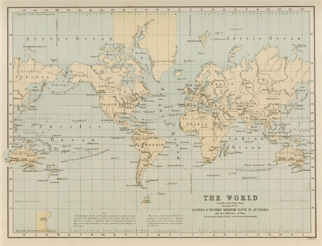 WORLD on Mercator's Projection. Maritime Route to Australia c1874