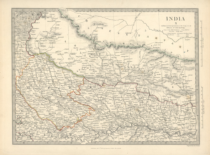 Northern India, Nepal, and border of Chinese Tartary. SDUK c1834