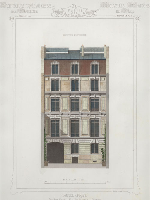 Cesar Daly, Private Hotel, Paris. French architectural engraving, c1864