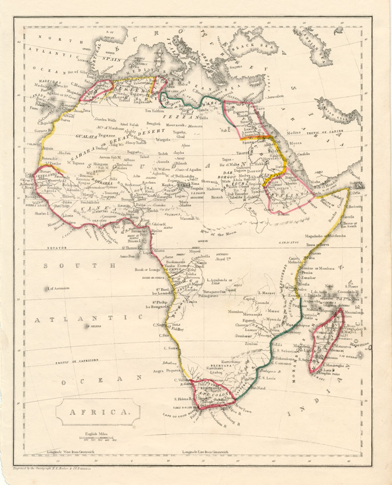 Africa antique map engraved by the Omnigraph. Becker c1856