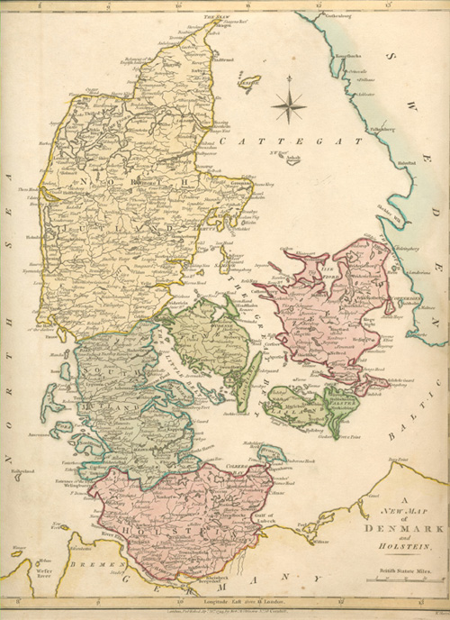 A New Map of Denmark and Holstein c1794. Robert Wilkinson
