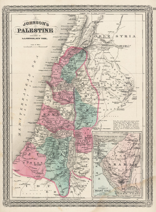 Johnson's Palestine published by A.J. Johnson, New York. c1874.